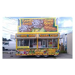 Food trailer wrap designed and installed by Custom Graphics and Signs