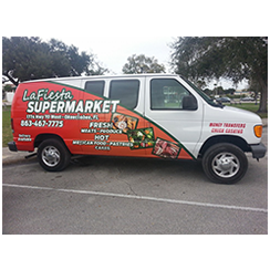 Van wrap designed and installed by Custom Graphics and Signs