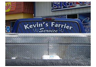 Rear window perforation designed by Custom Graphics and Signs